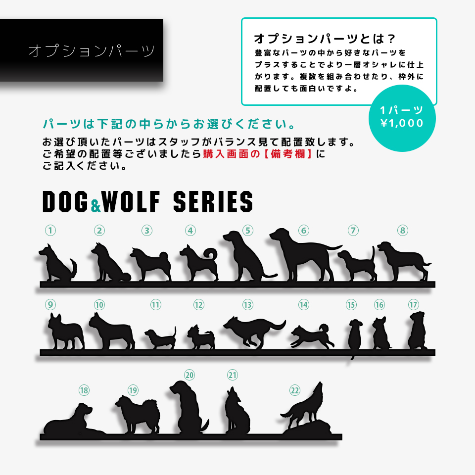 シンプルデザイン表札用の犬シルエットパーツを紹介する画像
