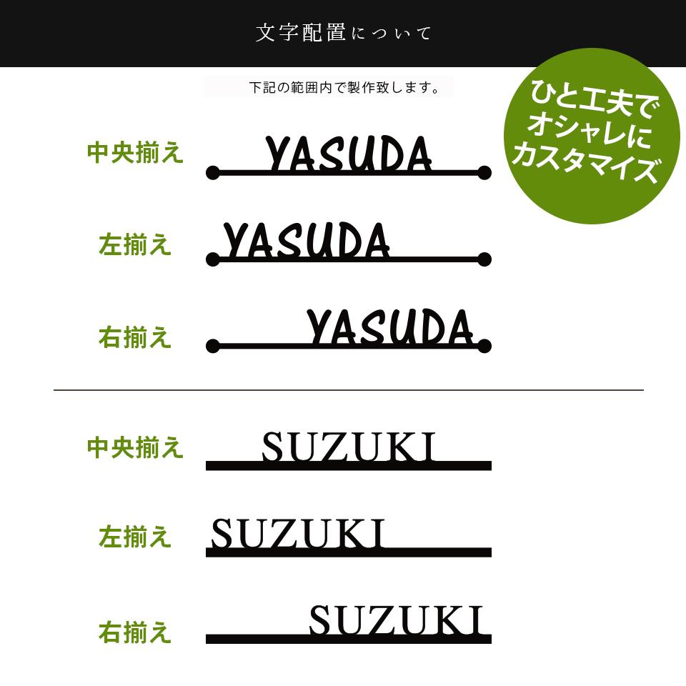 ステンレス表札シンプルラインの文字配置デザインパターンを紹介した画像