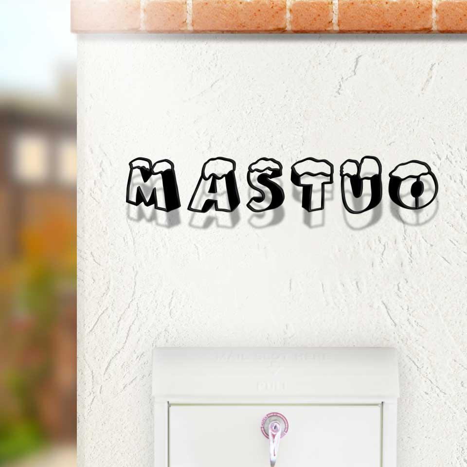 ポップな立体文字デザインのアイアン・ステンレス表札をコンクリートの壁にセットしたデザイン例