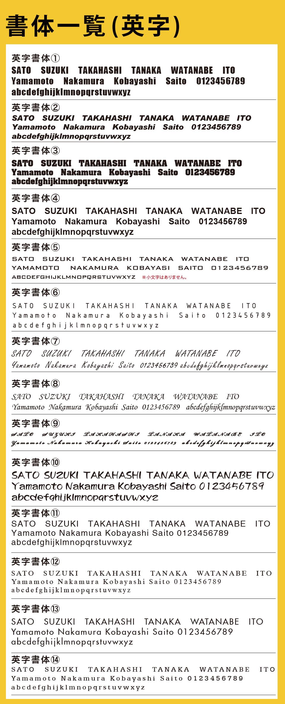 おしゃれ表札chitoseの英字書体一覧