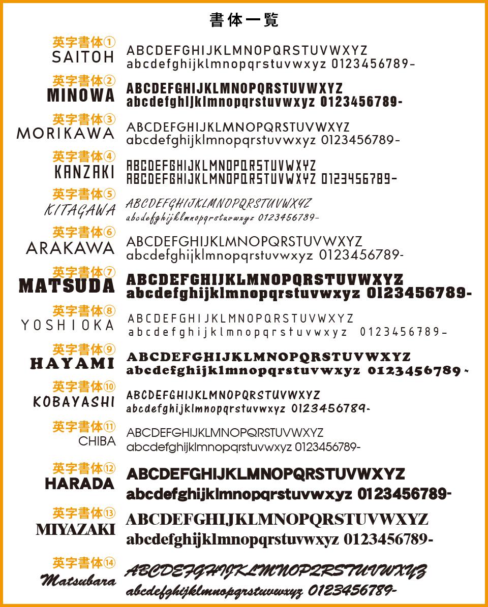 ステンレス表札ヘルバの制作可能文字フォント一覧