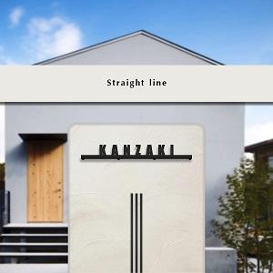 アンダーラインに角ゴシックを用いたデザインのステンレス表札を戸建ての壁にセットした画像