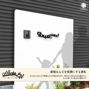 リスを入れてオリジナルデザインにしたアイアン・ステンレス表札を白い壁にセットしたデザイン例