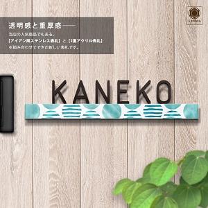 シンプルな文字に水玉アクセントを付けたデザインのアイアン・ステンレス表札を木目の壁にセットしたデザイン例