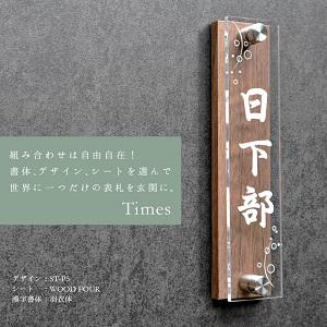 かわいくて涼しげな和風アクリル表札を黒い壁にセットした画像