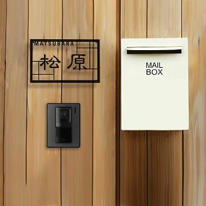 隷書と格子がマッチしたデザインのアイアン・ステンレス表札を木目の壁にセットしたデザイン例